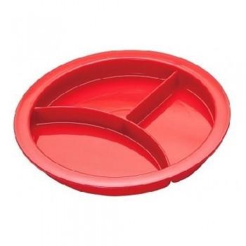Piatto rosso con tre scomparti