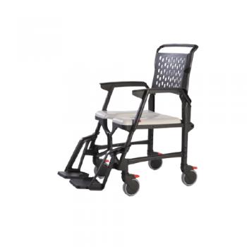 Comoda sedia pieghevole con ruote per WC e doccia bathmobile
